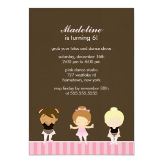 Sweet Ballet Dancers Girls Birthday Party Card