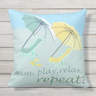 Sweet Beach House Swim Play Relax Outdoor Pillow