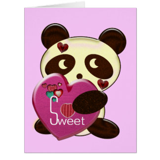 Sweet Bear Valentine with Hearts Large Greeting Card