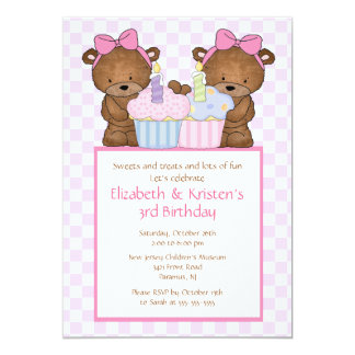 Sweet Bears Cupcake Twins Birthday Invitation