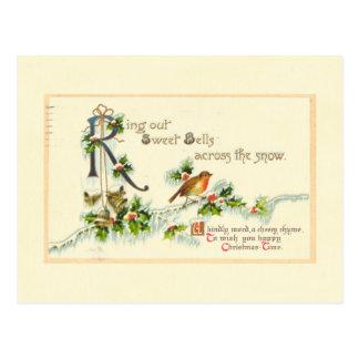 Sweet Bells Vintage Christmas Postcard