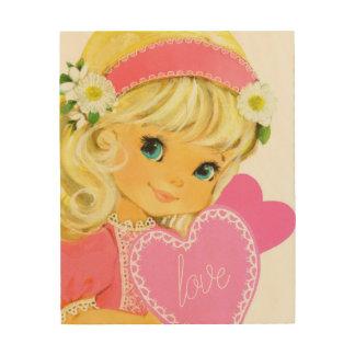 Sweet Big Eye Girl Holding Love Hearts Wood Art