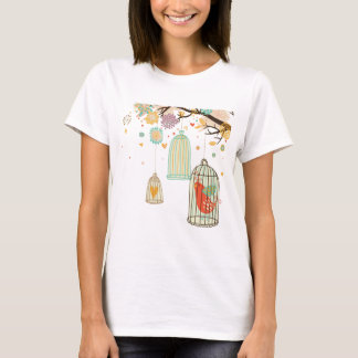 Sweet Bird Cage in Tree Pastel Design T-shirt