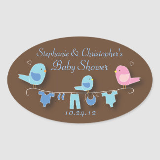 Sweet Bird Family Blue Baby Boy Shower Sticker