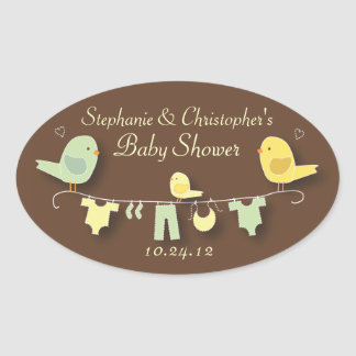 Sweet Bird Family Neutral Baby Shower Sticker