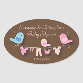 Sweet Bird Family Pink Baby Girl Shower Sticker
