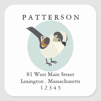 Sweet Bird Feathered Friend Return Address Label Square Sticker