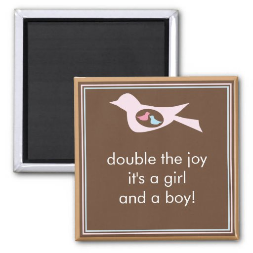 Sweet Bird Mommy with Twin Girl and Boy Refrigerator Magnets