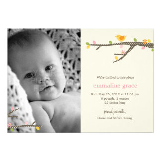 Sweet Birdie Baby Birth Announcement Personalized Announcements