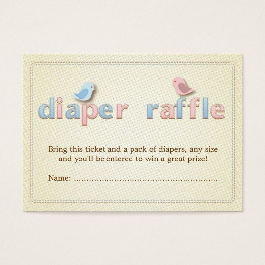 Sweet Birdie Pink Blue Diaper Raffle Ticket Insert