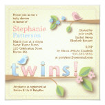 Sweet Birdie Twin Boy Girl Baby Shower Invitation