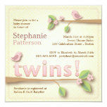 Sweet Birdie Twin Girls Baby Shower Invitation