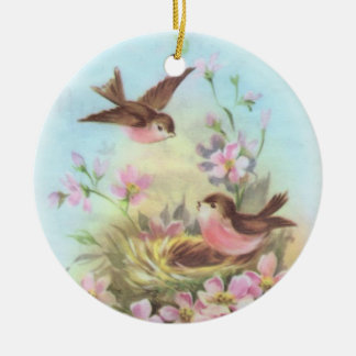 Sweet Birdies Round Ceramic Decoration