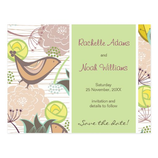 Sweet Birds Floral Garden Save The Date Postcard
