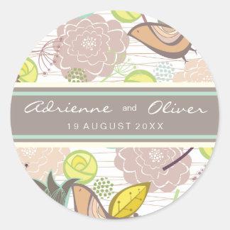 Sweet Birds Floral Wedding Favour Label Sticker