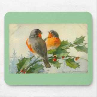 Sweet Birds Vintage Postcard Print Mousepad