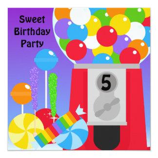 "Sweet Birthday Party Invitation 5.25"" Square Invitation Card"
