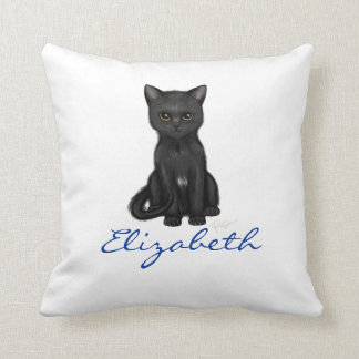 Sweet Black Cat w/Golden Eyes - Blue Custom Name Cushion