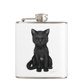 Sweet Black Kitty Cat with Bright Golden Eyes Hip Flask