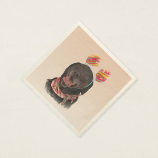 Sweet Black Labrador Retriever Dog Disposable Napkin