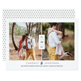 Sweet Black & White Dots Two-Photo Save the Date Card
