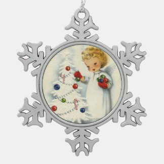 Sweet Blonde Angel Decorating Christmas Tree Pewter Snowflake Decoration
