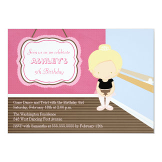 Sweet blonde ballet girl birthday party invitation