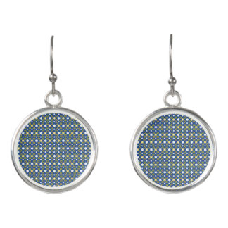 Sweet Blue and Gold Star of David Earrings