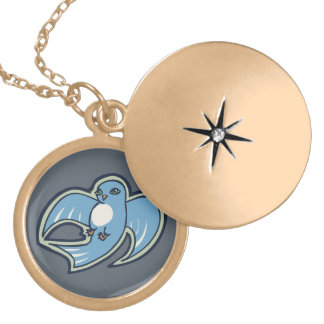 Sweet Blue And White Bird Ink Drawing Design Locket Necklace