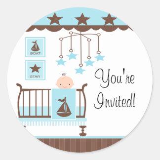 Sweet Blue Baby Room You re InvitedSticker Round Sticker