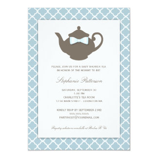 Sweet Blue | Brown Teapot Baby Shower Tea Party 13 Cm X 18 Cm Invitation Card