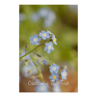 Sweet Blue Flowers Customizable Posters