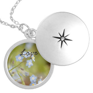 Sweet Blue Flowers; Customizable Round Locket Necklace