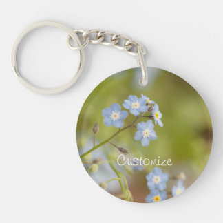 Sweet Blue Flowers; Customizable Single-Sided Round Acrylic Key Ring