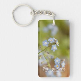 Sweet Blue Flowers; Promotional Single-Sided Rectangular Acrylic Key Ring