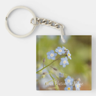 Sweet Blue Flowers; Promotional Single-Sided Square Acrylic Key Ring