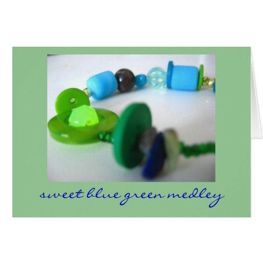 Sweet Blue Green Medley Greeting Card