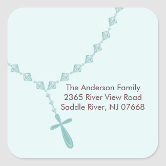 Sweet Blue Rosary Beads Address Sticker Baptism