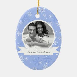 Sweet Blue Snowflakes Photo Christmas Ornament