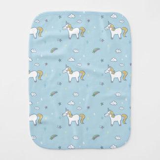 Sweet blue Unicorn Pattern Baby Burp Cloth