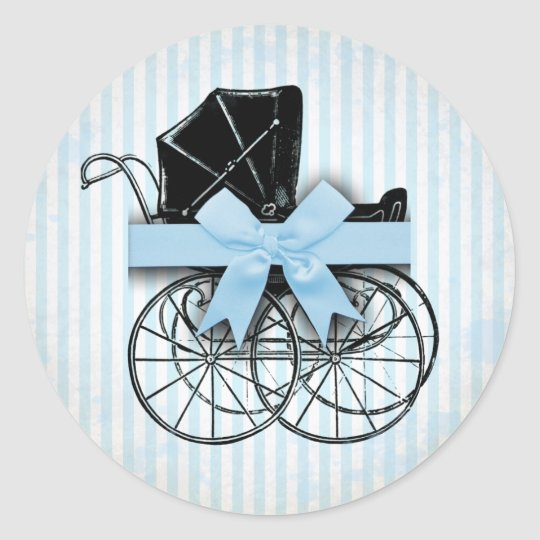 Sweet Blue Vintage Baby Carriage Pram and Bow