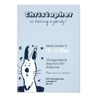 "Sweet Blue & White Rabbit Party Invite 5"" X 7"" Invitation Card"