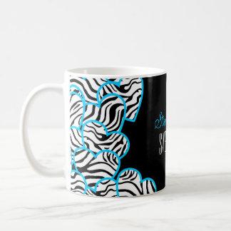 Sweet blue zebra hearts Sweet 16 Birthday Mug