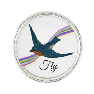 Sweet Bluebird with Stylized Rainbow Lapel Pin