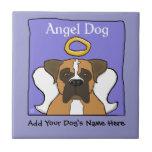 Sweet Boxer Dog Angel Memorial Ceramic Tile