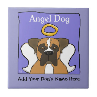 Sweet Boxer Dog Angel Memorial Small Square Tile