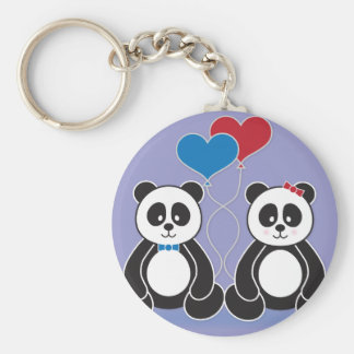 Sweet Boy and Girl Pandas in Love Keychains