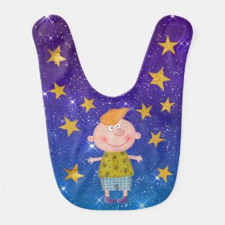 Sweet Boy Shiny Stars Stripes Gold Baby Bib