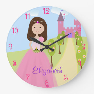 Sweet Brown Hair Princess Personalized Large Clock