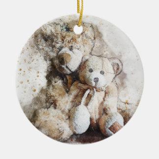 Sweet Brown Teddy Bears Ceramic Ornament